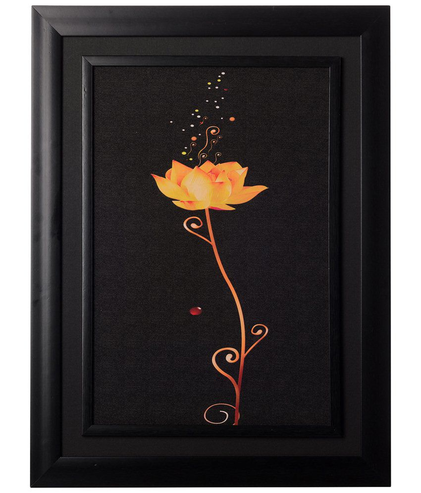 eCraftIndia Black & Yellow Sparkling Rose Framed Velvet Touch Reprint Painting