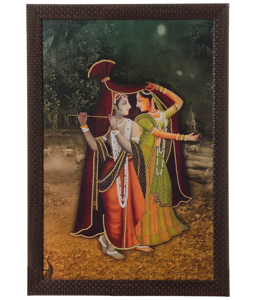 eCraftIndia Brown & Orange Radha Krishna Satin Framed UV Art Print Painting