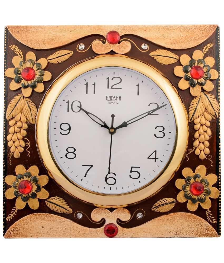 eCraftIndia Brown & Red Wooden Papier Mache Floral Wall Clock