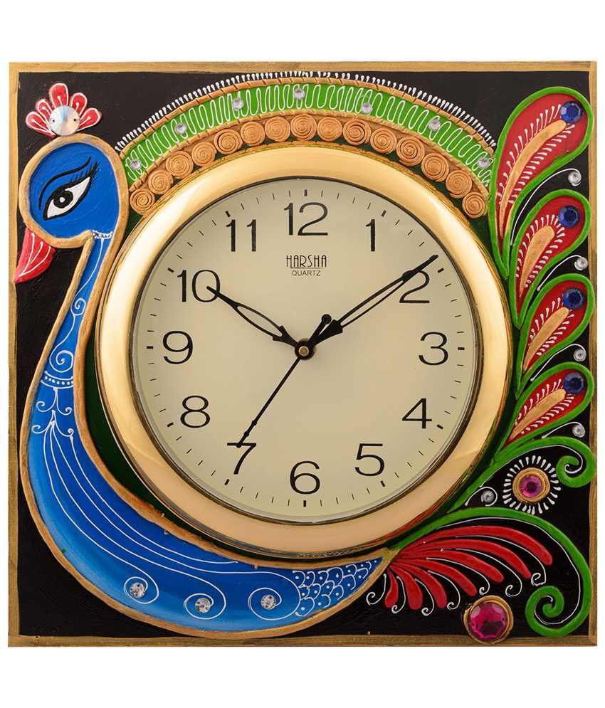 eCraftIndia Classic Multicoloured Wooden Papier Mache Peacock Wall Clock