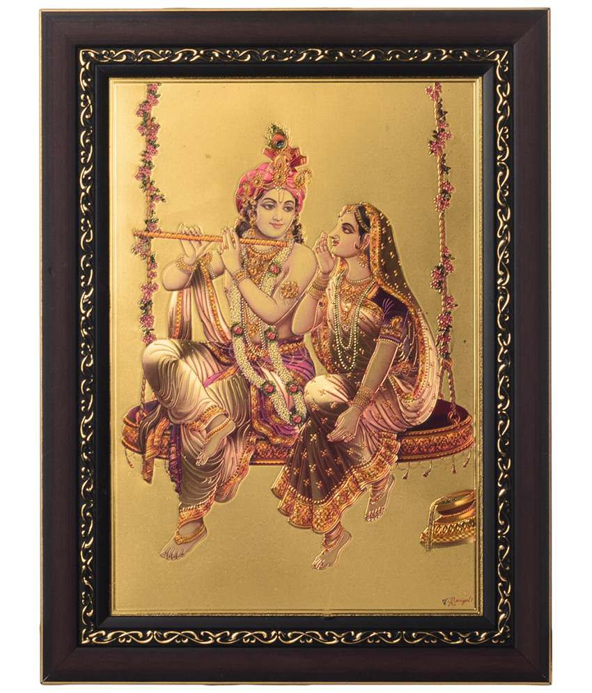 eCraftIndia Enticing Golden & Pink Radha Krishna on Swing Framed Laminated Foil Painting
