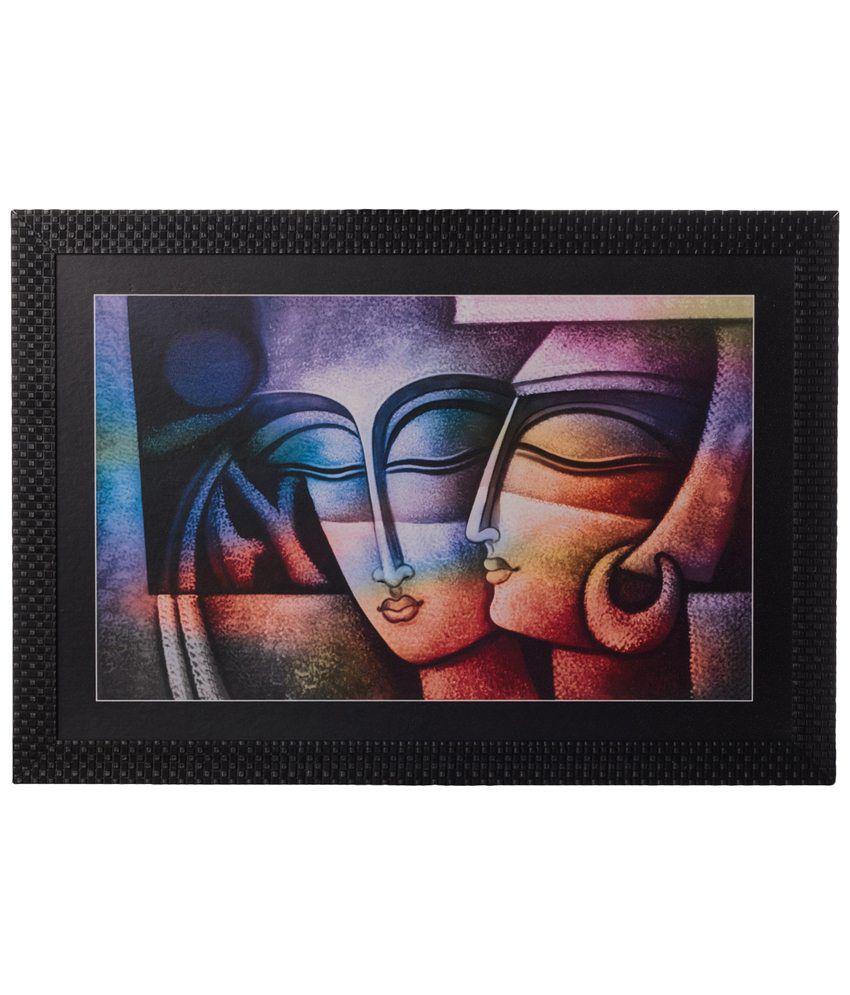 eCraftIndia Enticing Multicoloured Radha Krishna Satin Framed UV Art Print Painting
