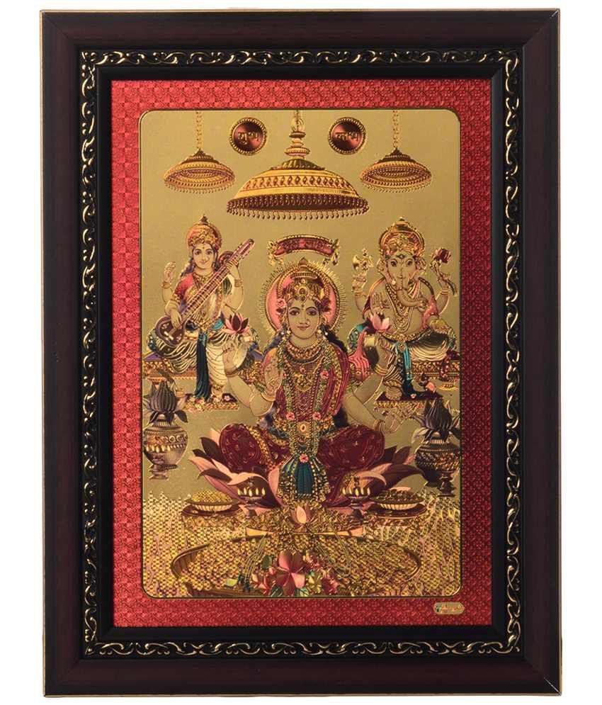 eCraftIndia Golden & Pink Laxmi Ganesh Saraswati Framed Laminated Foil Painting