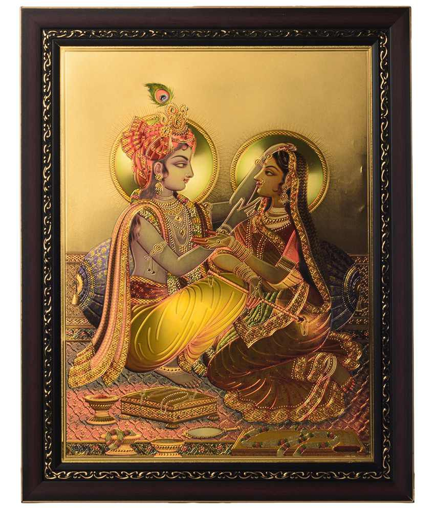 eCraftIndia Multicoloured Radha Krishna Framed Laminated Foil Painting