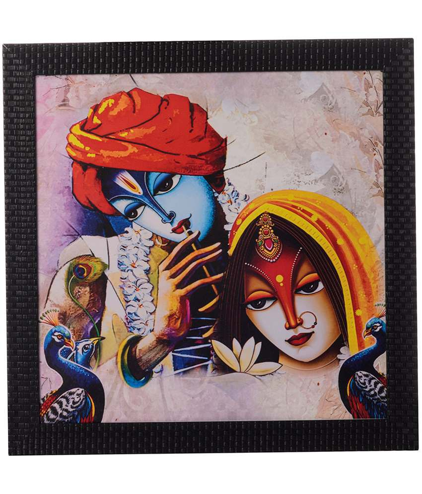 eCraftIndia Multicoloured Radha Krishna Satin Framed UV Art Print Painting