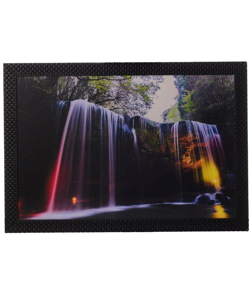 eCraftIndia Multicoloured Water Fall Satin Framed UV Art Print Painting