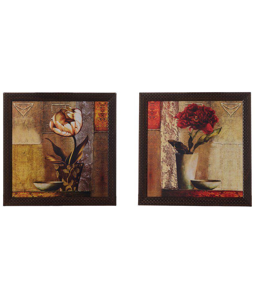 eCraftIndia Pack of 2 Multicoloured Floral Satin Framed UV Art Print Paintings