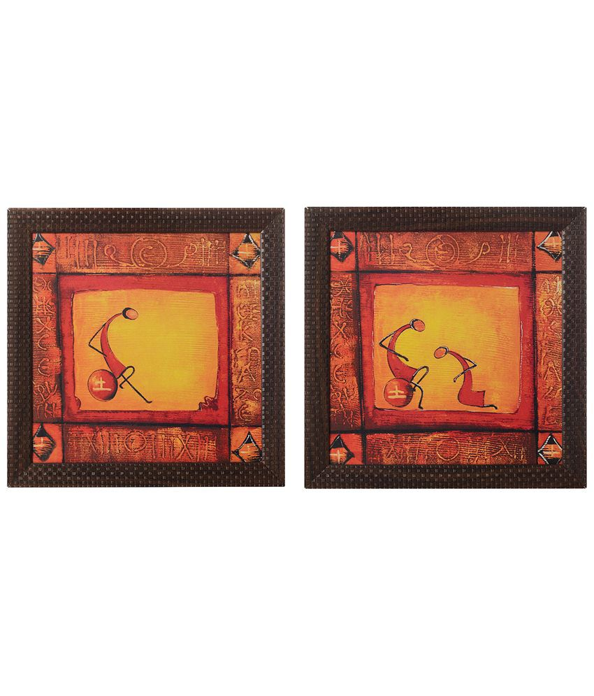 eCraftIndia Pack of 2 Yellow & Red Abstract Tribals Satin Framed UV Art Print Paintings