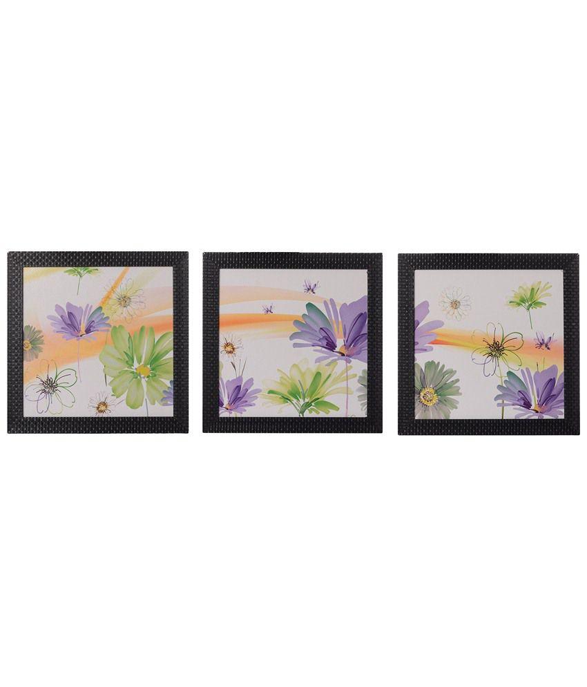 eCraftIndia Pack of 3 White, Purple & Green Flowers Satin Framed UV Art Print Paintings
