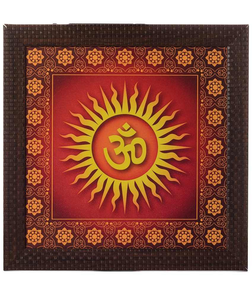 eCraftIndia Red & Yellow Om Satin Framed UV Art Print Painting