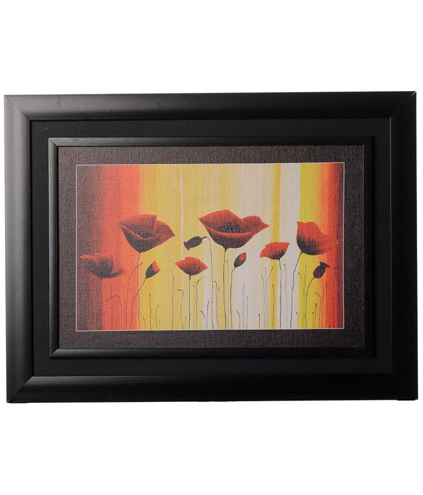 eCraftIndia Yellow & Orange Flowers Framed Canvas Reprint Oil Painting