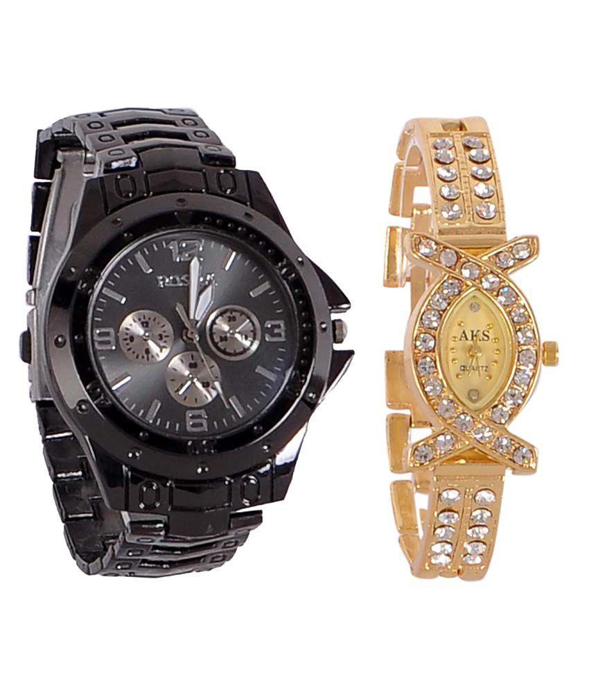 Wrist watch on discount - Rosra Black Round Analog Watch Buy 1 Get 1