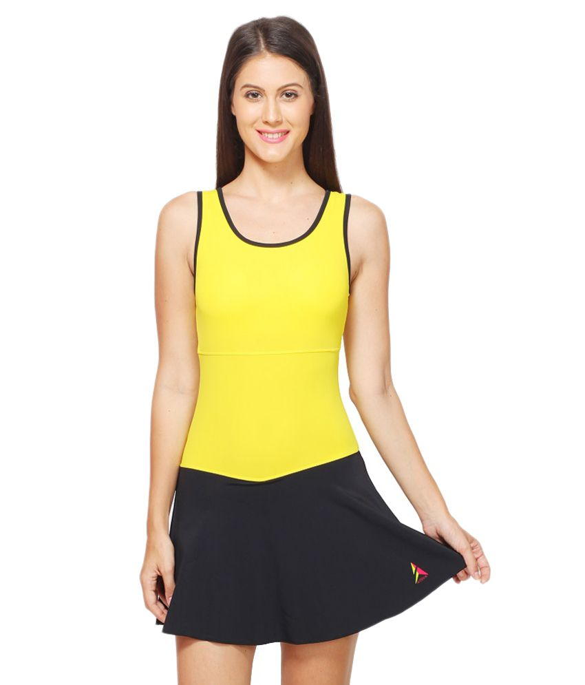 Attiva Yellow Female Sleeveless Swimwear/ Swimming Costume
