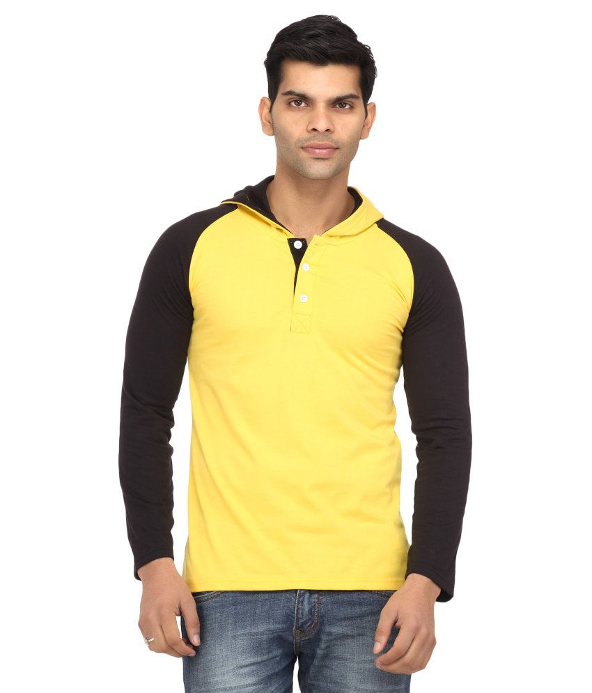 Leana Black-Yellow Hooded Henley Tshirts