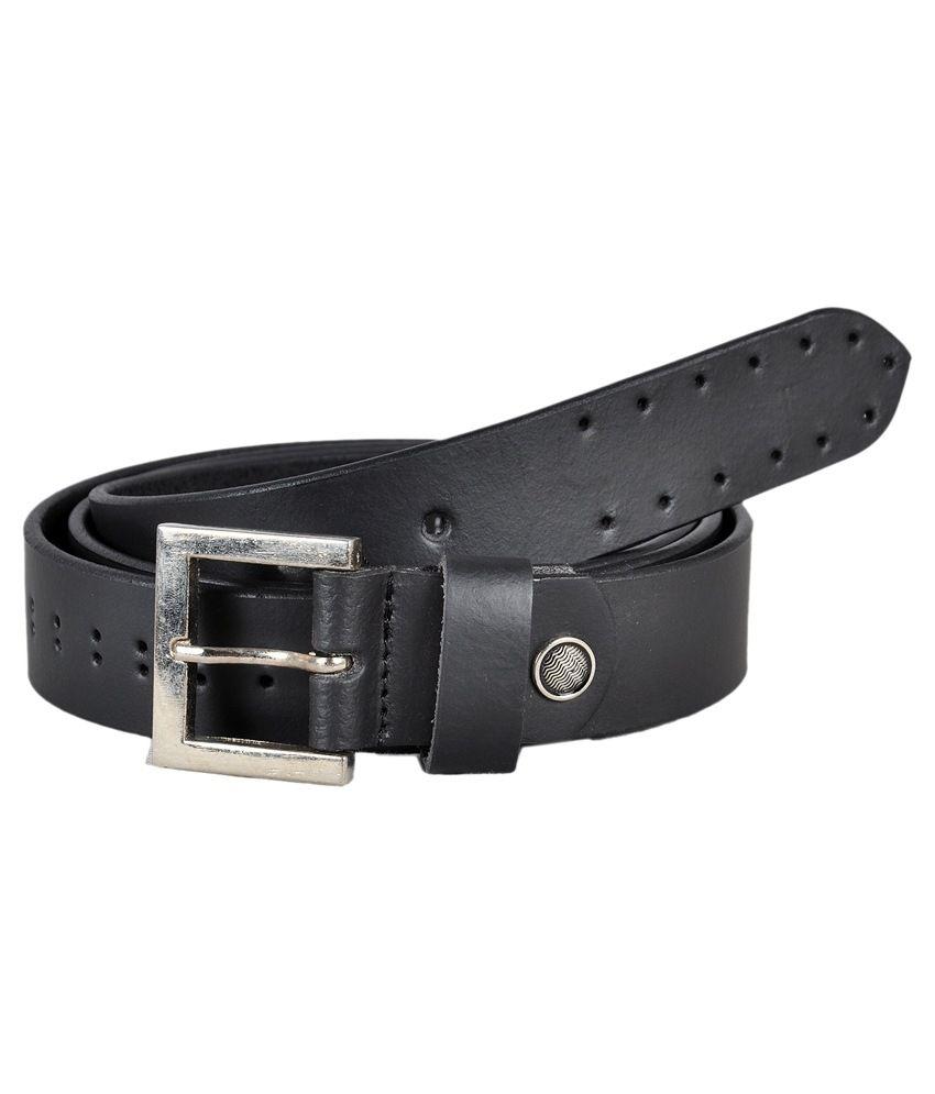 Ligans NY Black Leather Casual Belt