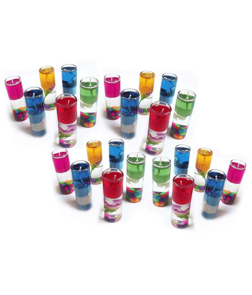 Peepalcomm Multicolour Pillar Candle Pack of 24