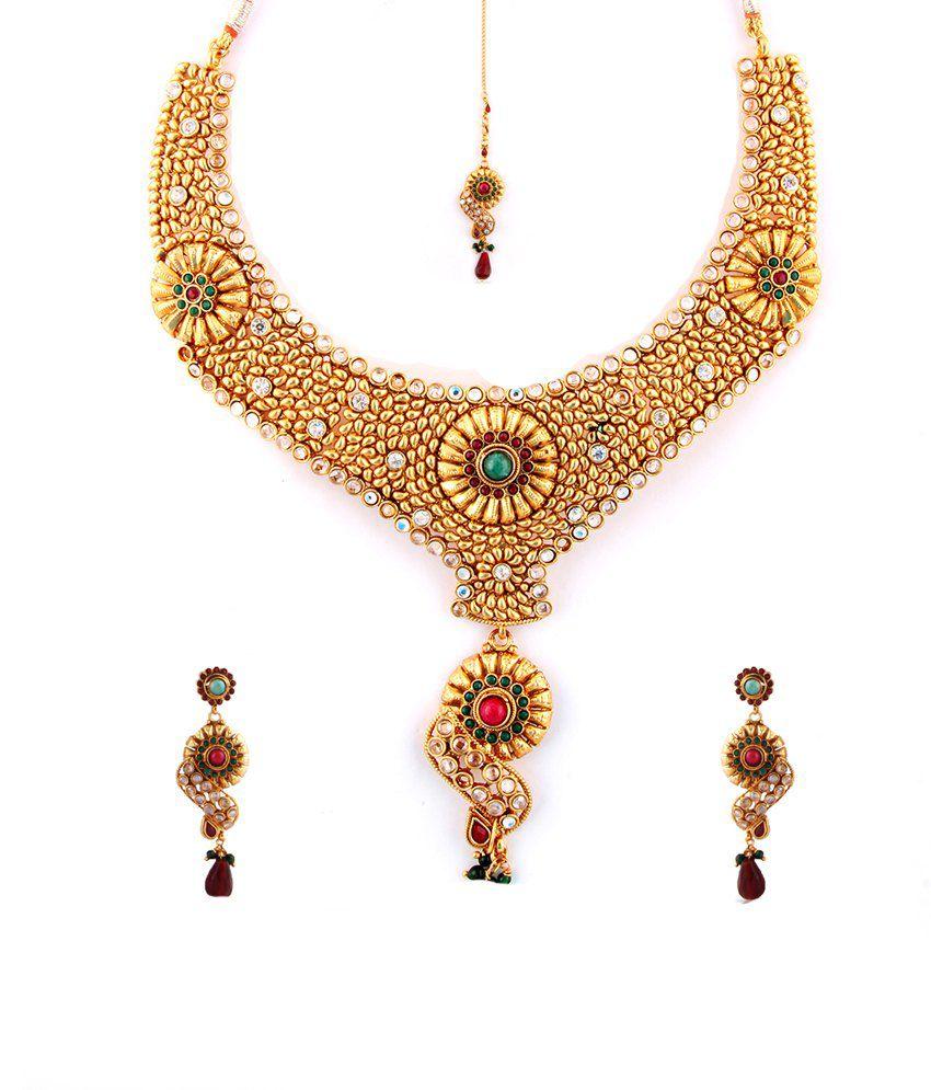 Utsokt Multicolor Brass Necklace Set