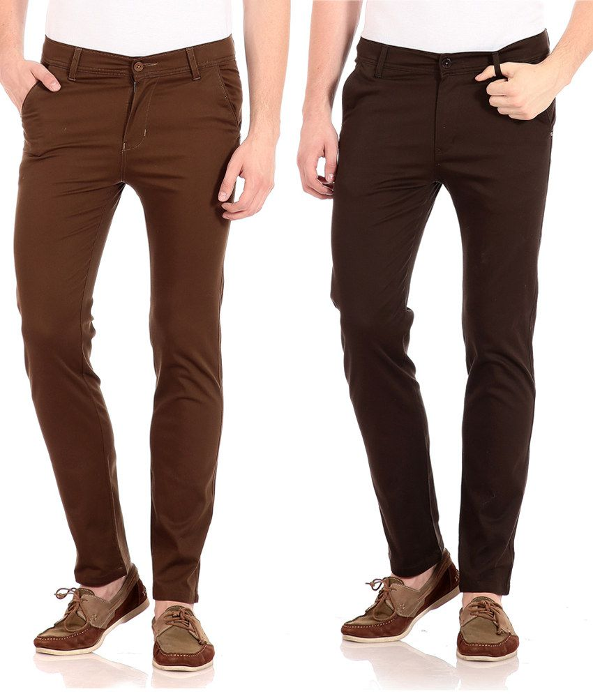 FlYJohn Brown Slim Fit Casual Chinos - Pack Of 2