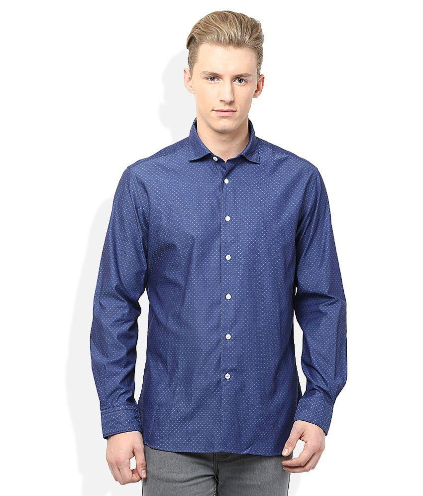T.M.Lewin Blue Regular Fit Casual Shirt
