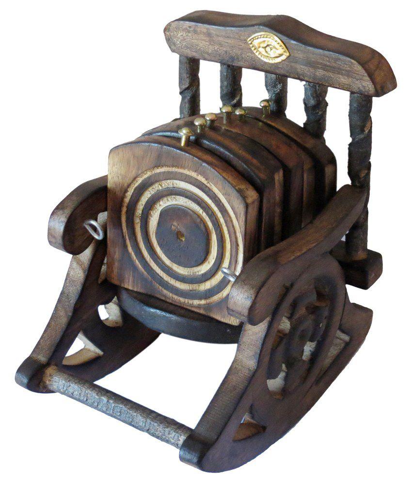 Vap Mart Brown Wooden Tea Coaster Set