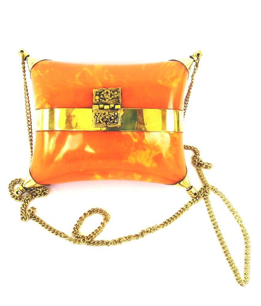 Hemshri Orange Pillow Shape Clutch
