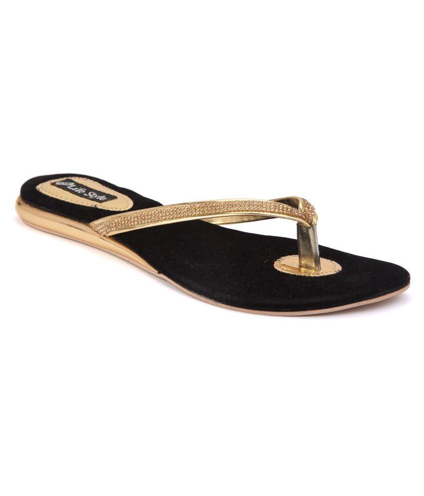 O.kay Life Style Golden Flat Slip Ons
