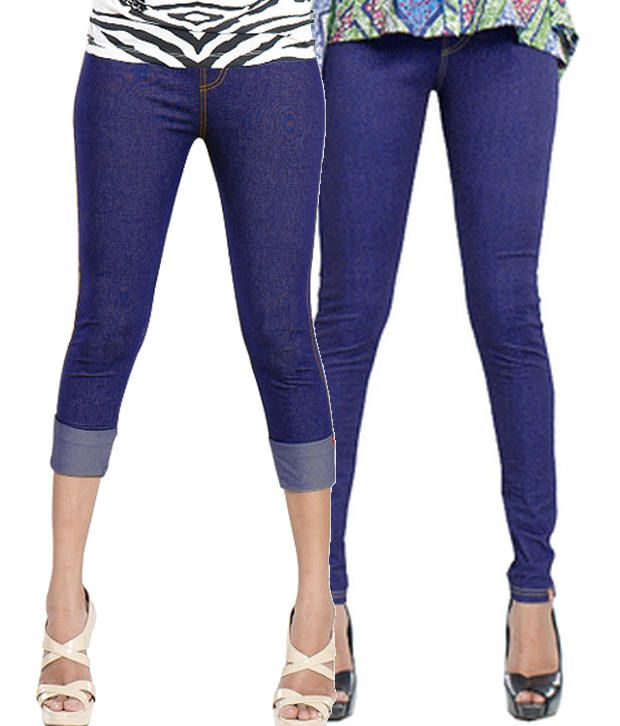 Notyetbyus Blue and Purple Cotton Lycra Jeggings (Pack of 2)