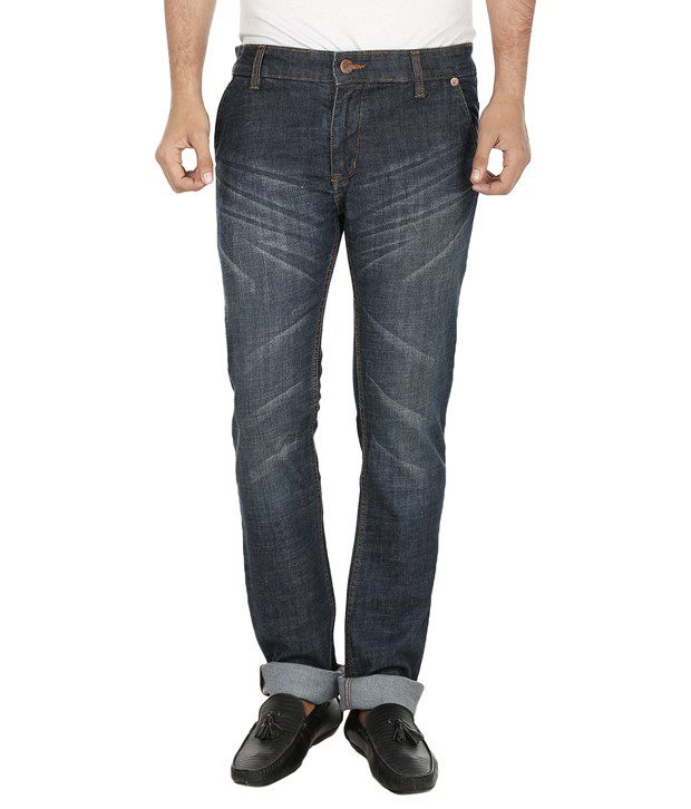 Regale Blue Narrow Fit, Med Waist Denim Jeans