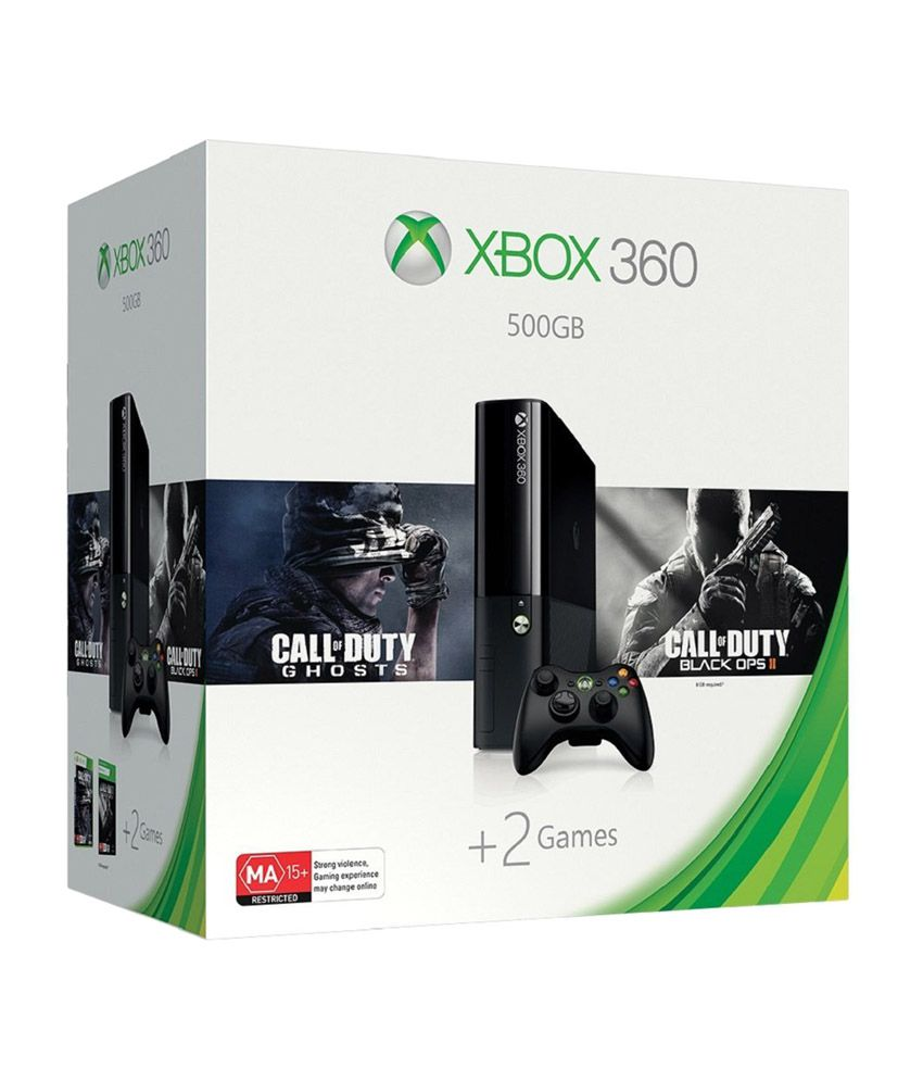 Xbox 360 500 GB Console with Free Games Call of Duty Ghosts + Black Ops II