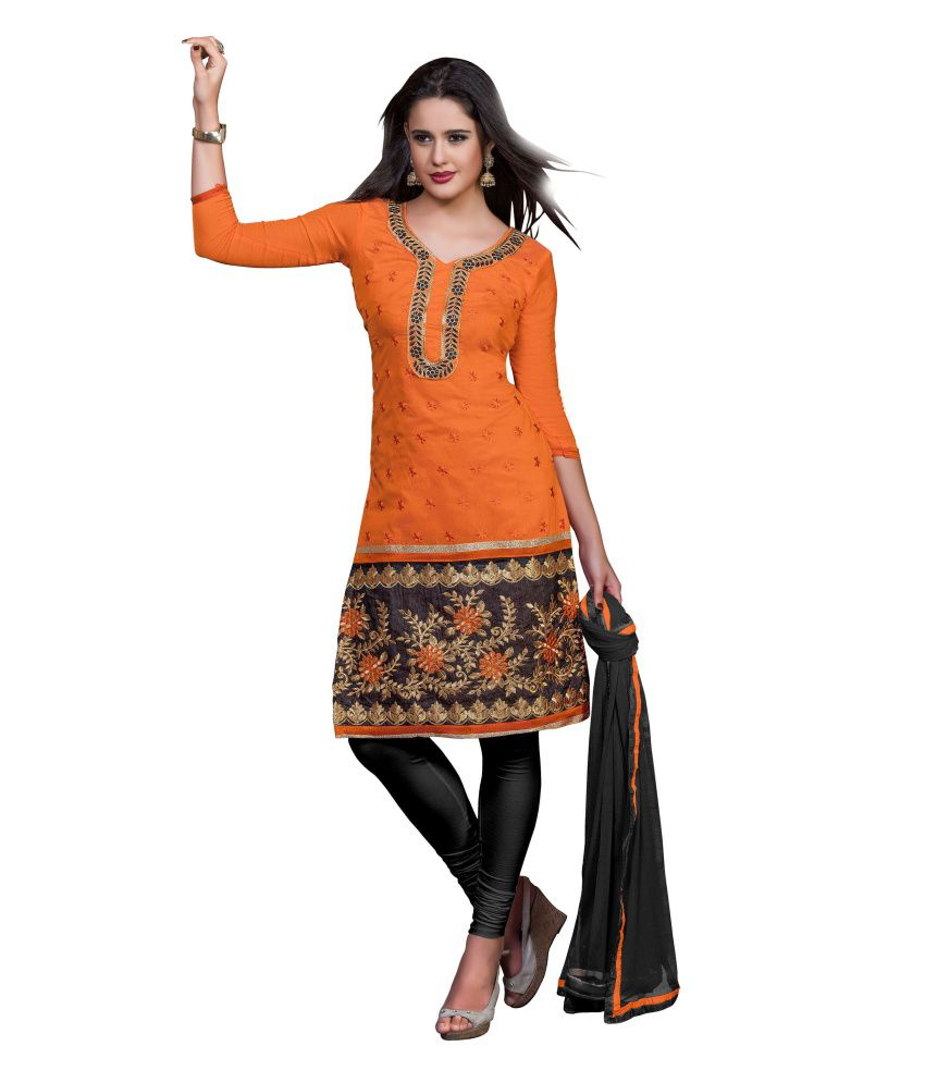 Dks Designer Orange Cotton Unstitched Dress Material