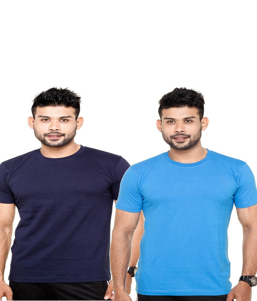 Fleximaa Combo of Navy and Blue Cotton T-shirts