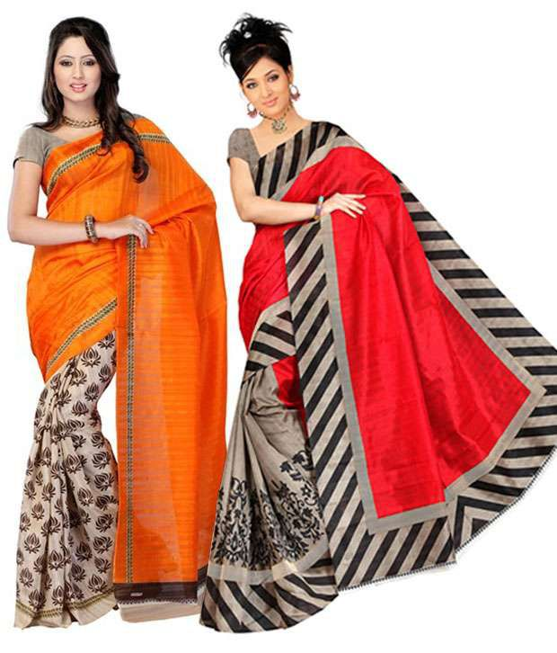Ganpati Textile Orange & Red Silk Sarees with Blouse Piece - Pack of 2