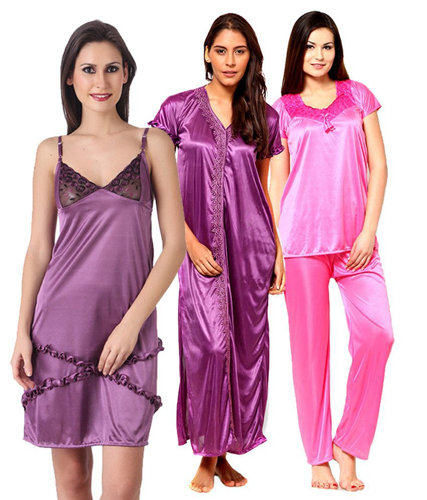 Chhristy World Multi Color Satin Nighty & Night Gowns Pack of 3