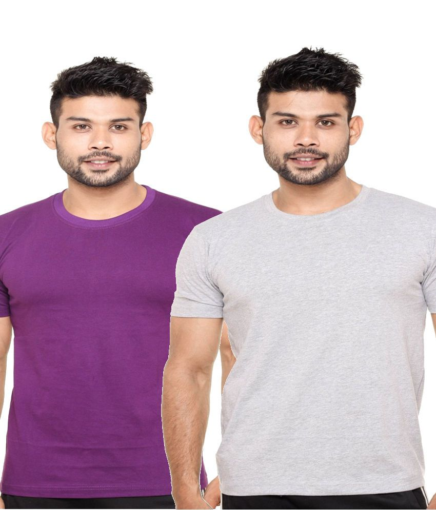 Fleximaa Combo of Purple and Grey Cotton T-shirts