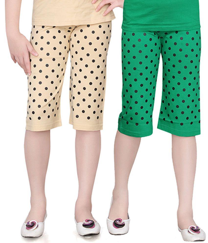 Sini Mini Girls Colorful Dot Capri (Pack Of 2)