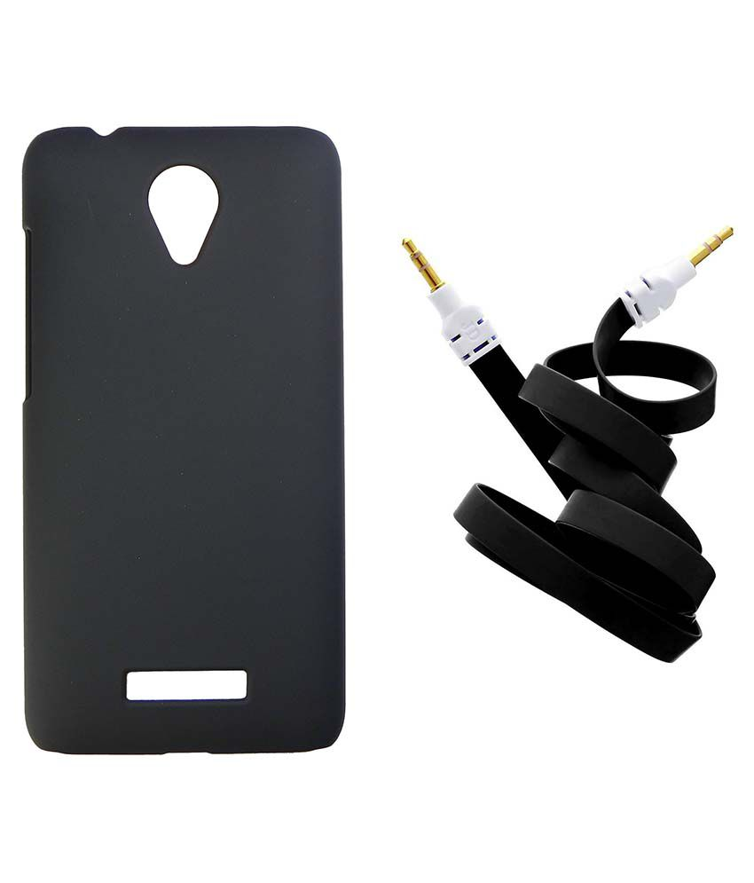 Toppings Hard Shell Back Cover With Aux Cable For Micromax Canvas Spark Q380 - Black