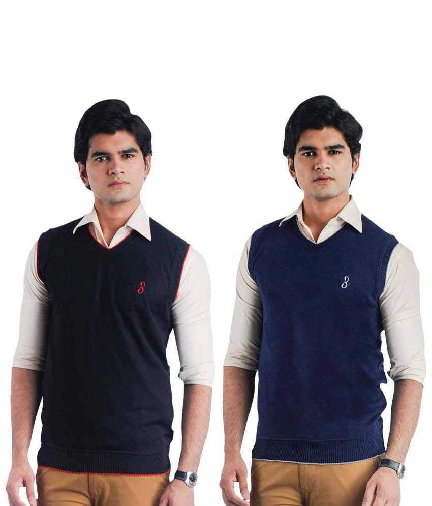 Eprilla Pack of 2 Black and Blue Sleeveless Sweaters