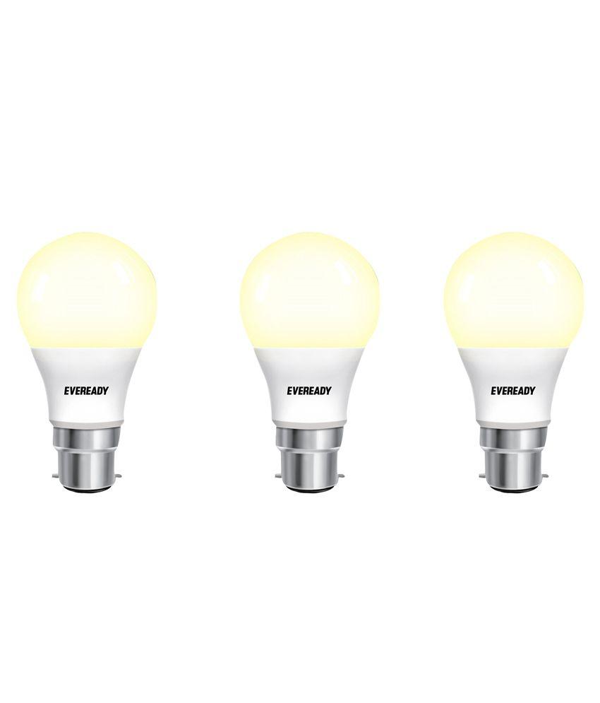 Eveready 7W 2700K Warm Yellow Light Pack of 3 Led Bulbs