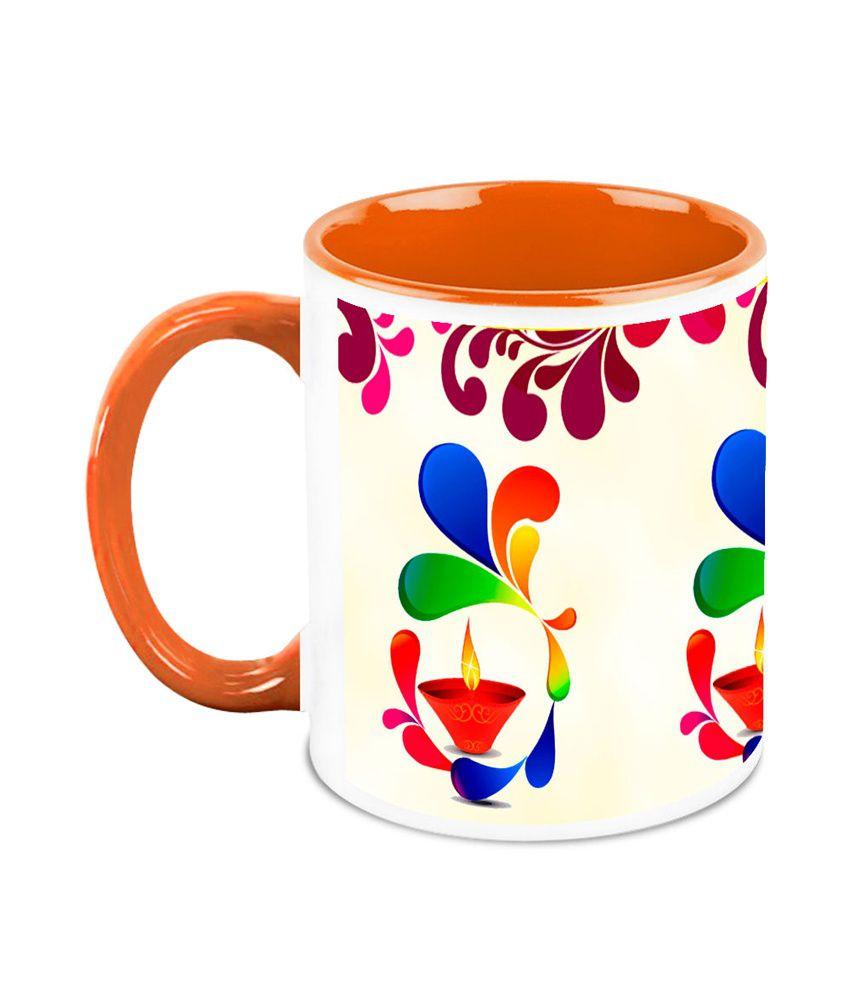 HomeSoGood Diwali Gifts For Diwali Sparkling Deepak White Ceramic Coffee Mug - 325 ml
