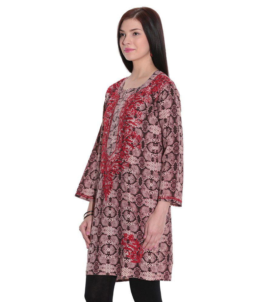 d9904e1ffe ... Indian Handicraft Standards Pink Lucknowi Chikan Cotton Hand  Embroidered Kurti ...