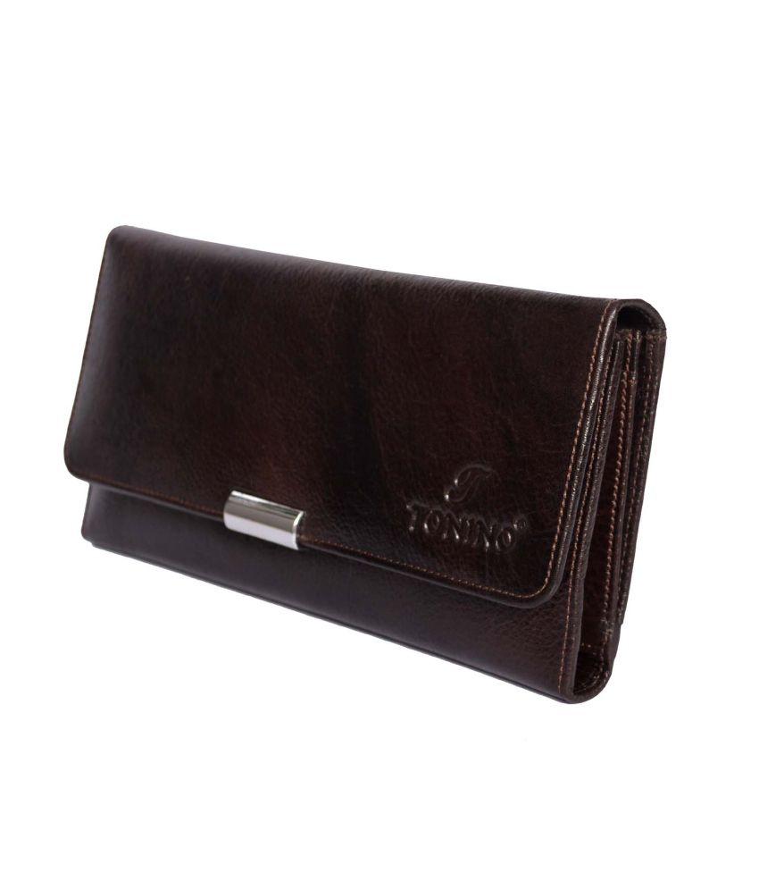 Tonino Leathers Brown Leather Women Premium Regular Wallet