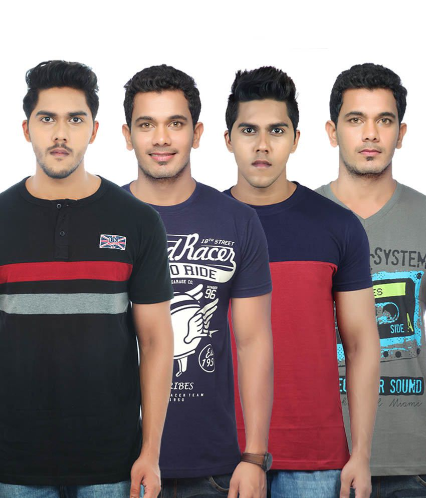 Uk Tribes Multicolour Cotton T Shirt Pack Of 4