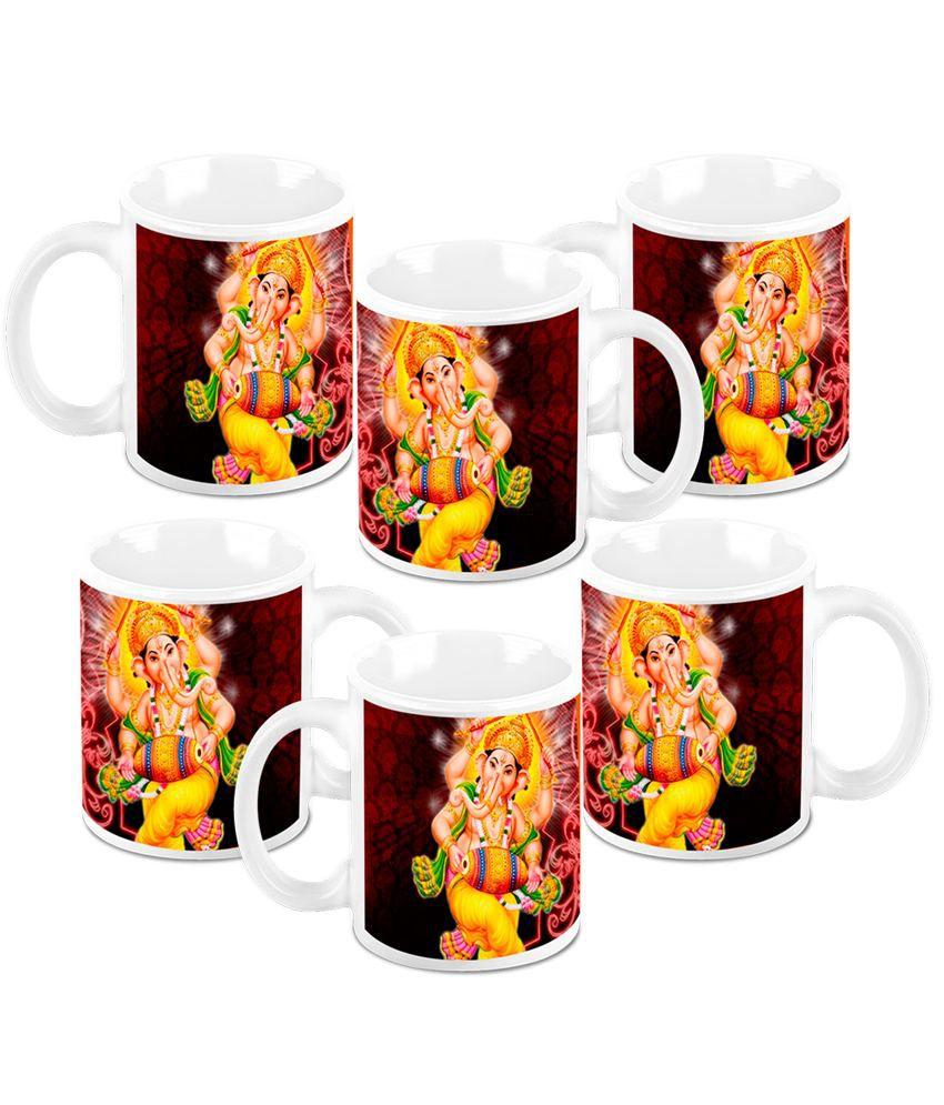 HomeSoGood Diwali Gifts For Diwali Dancing Ganesha White Ceramic Coffee Mug - 325 ml (Set Of 6)