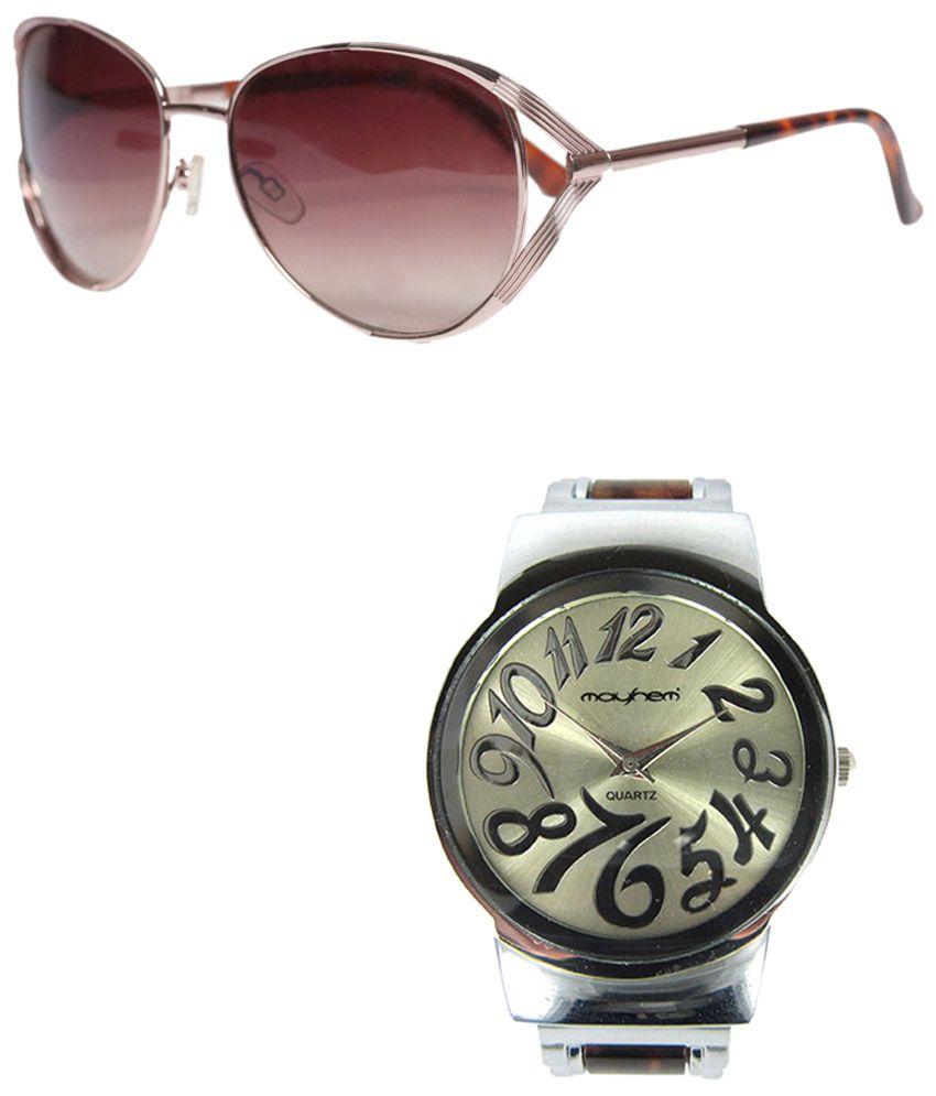 Mayhem Set of Golden Sunglasses & Silver Wrist Watch for Women