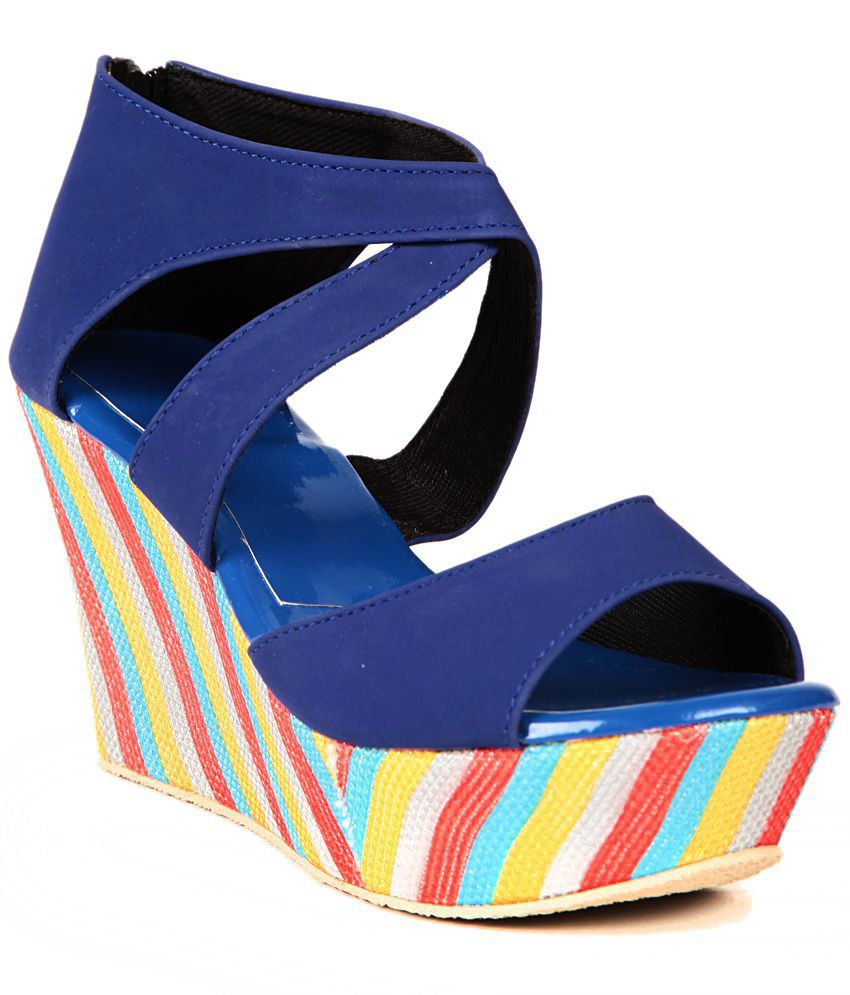 Pandora15 Blue Wedges Heeled Sandals