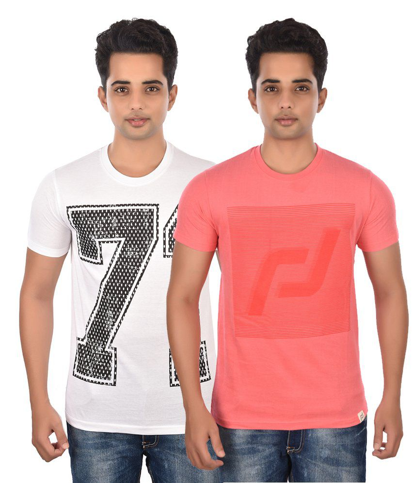 Rockstar Jeans Cotton Pink & White Round Neck Printed T-Shirts (Pack of 2)