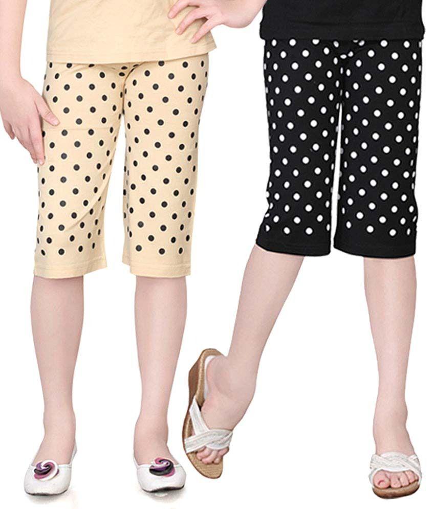 Sini Mini Multicolour Cotton Capris For Girls (Set Of 2)