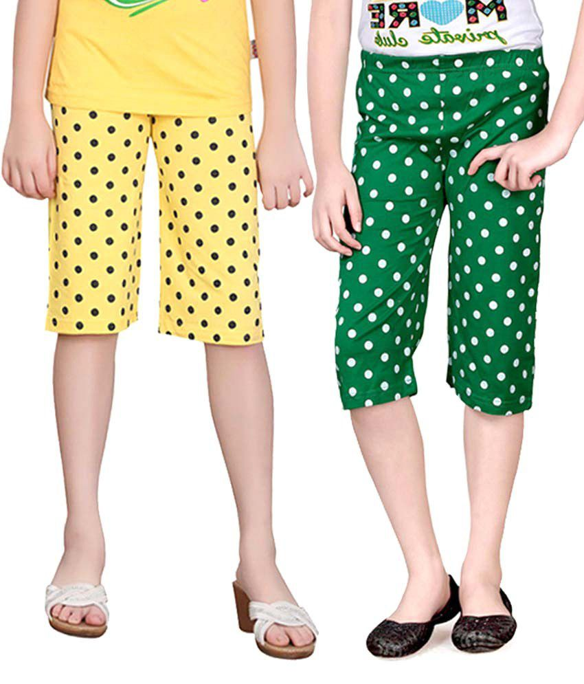 Sinimini Multicolour Cotton Capris For Girls (Set Of 2)