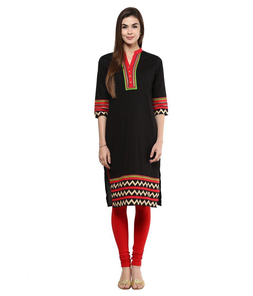 Sringam Black Cotton Kurti