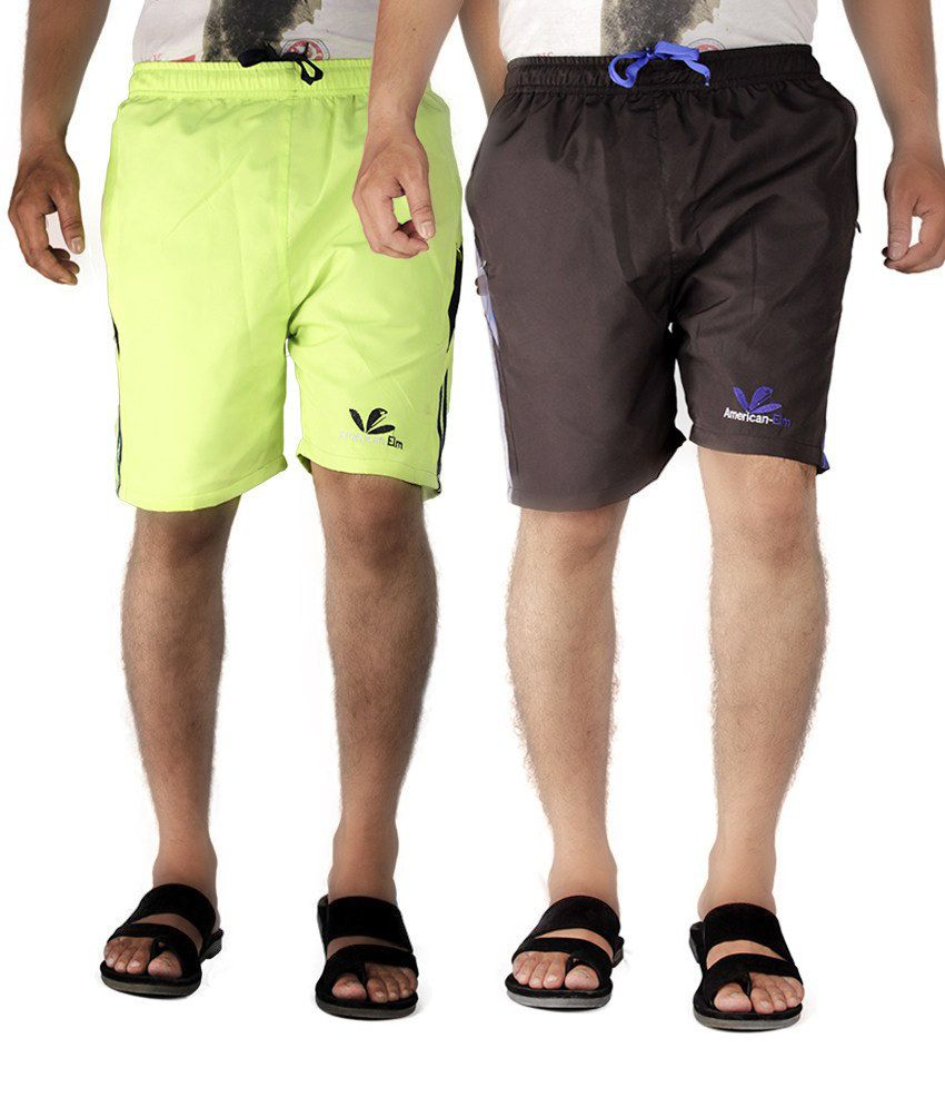 American-elm Multicolor Polyester Solids Shorts - Pack Of 2